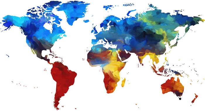 レインボーカラーの世界地図