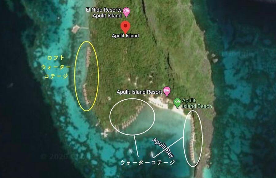 アプリット島の水上コテージの地図