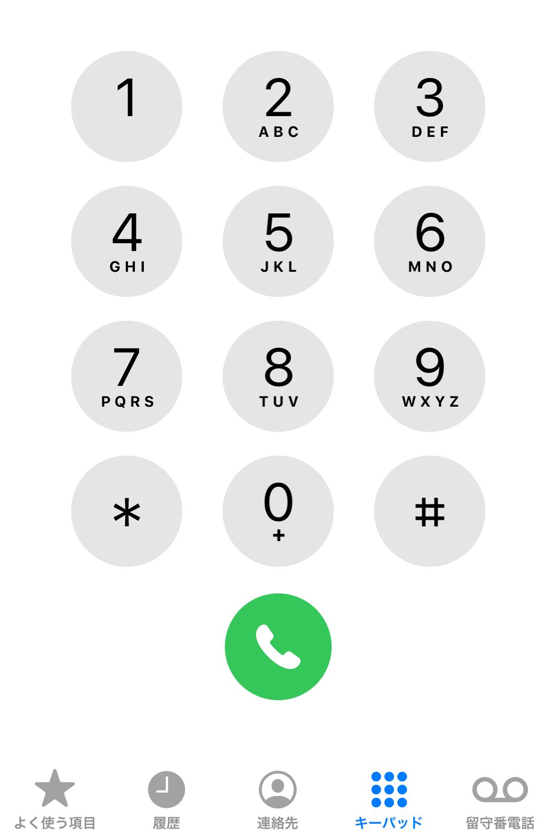 電話の画面