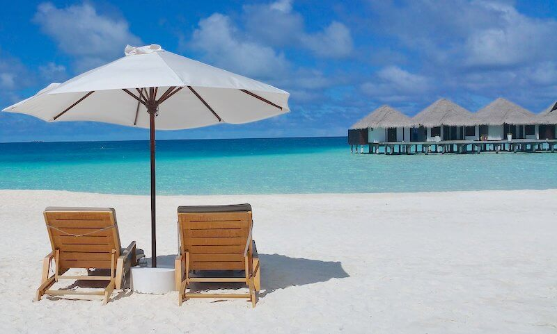 モルディブのビーチサイド
